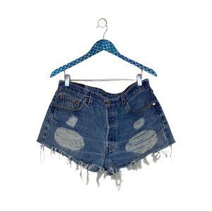 Levi's 501 Cotton Distressed Cut Off Denim Shorts